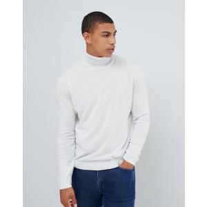 エイソス セーター メンズ カーディガン ホワイト ASOS DESIGN cotton roll neck jumper in white marl trendcruising