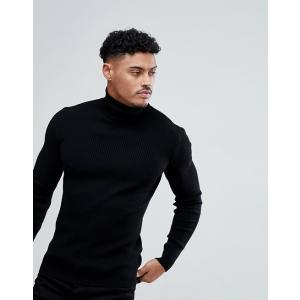 エイソス セーター メンズ カーディガン ブラック ASOS DESIGN muscle fit ribbed roll neck jumper in black trendcruising