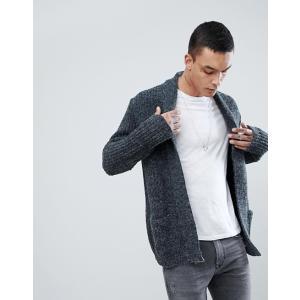 エイソス カーディガン セーター メンズ  グレー ASOS Shawl Cardigan In Fluffy Yarn trendcruising