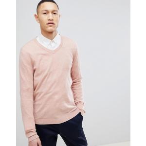 エイソス  セーター メンズ  カーディガン ピンク ASOS DESIGN Cotton V-Neck Jumper In Pink trendcruising