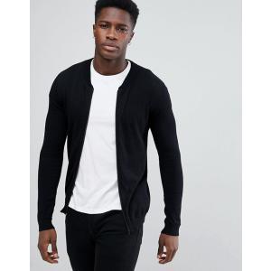 エイソス  カーディガン メンズ  ブラック ASOS Knitted Bomber In Black trendcruising