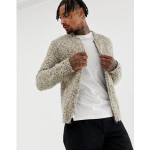 エイソス カーディガン セーター メンズ ニット ASOS DESIGN heavyweight textured bomber jacket in oatmeal オートミール trendcruising