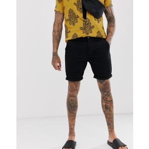 エイソス デニム ショートパンツ メンズ ショーツ 2パック ASOS Denim Shorts In Skinny Black & Mid Wash|trendcruising