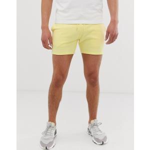 エイソス ショートパンツ メンズ ブラック ASOS DESIGN Slim Chino Shorts In Black With Checkerboard Side Tape trendcruising