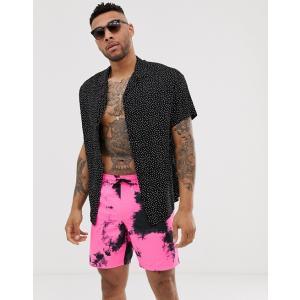 エイソス スイムショーツ パンツ ボードショーツ サーフパンツ 水着 メンズ ASOS DESIGN Co-Ord Swim Shorts With Cream Ibiza Print In Short Length イエロー trendcruising
