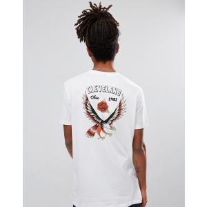 エイソス Tシャツ メンズ 半袖 ホワイト ASOS Relaxed Longline T-Shirt With Eagle Back Print And Chest Print|trendcruising