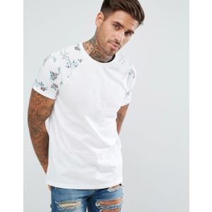 エイソス Tシャツ メンズ 半袖 ホワイト ASOS T-Shirt With Floral Raglan Sleeves|trendcruising