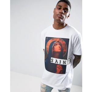 エイソス Tシャツ メンズ 半袖 ホワイト  ASOS Longline T-Shirt With Saints Printed Patch|trendcruising