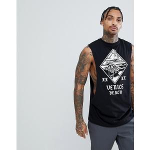 エイソス Tシャツ メンズ 半袖 ブラック ASOS Sleeveless T-Shirt With Extreme Dropped Armhole With Palm Tree Print|trendcruising