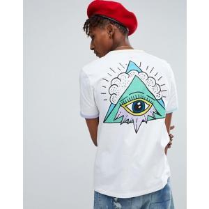エイソス Tシャツ メンズ 半袖 ホワイト  ASOS Relaxed T-Shirt With Triangle Eye Back Print And Contrast Ringer|trendcruising
