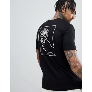 エイソス Tシャツ メンズ 半袖 ブラック ASOS DESIGN t-shirt with hand back print|trendcruising