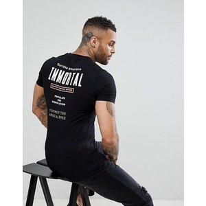 エイソス Tシャツ メンズ 半袖 ブラック ASOS Muscle T-Shirt With Immortal Back Print|trendcruising