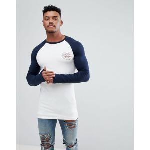 エイソス Tシャツ メンズ 半袖 ASOS DESIGN muscle longline long sleeve raglan t-shirt with a city print 大きいサイズ xl xxl xxxl|trendcruising