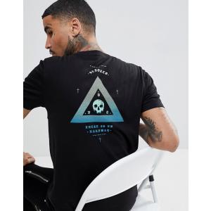 エイソス Tシャツ メンズ 半袖 ブラック  ASOS T-Shirt In Black With Gradient Skull Print 大きいサイズ xl xxl xxxl|trendcruising