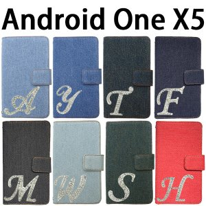 Android One X5 対応 デニム 手帳型ケース 手帳型カバー イニシャルデコケース カバー AndroidOneX5ケース AndroidOneX5カバー trends