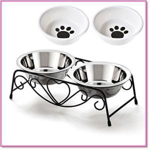 ペットボウルスタンドセットステンレス製えさ入れごはん皿お水入れ猫犬 0510|trepakgogo