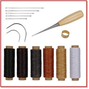 蝋引き糸 レザークラフト 15点セット 革DIY 手作り裁縫 ロウ引き糸 6色 縫い糸用針 指守り輪 1018 trepakgogo