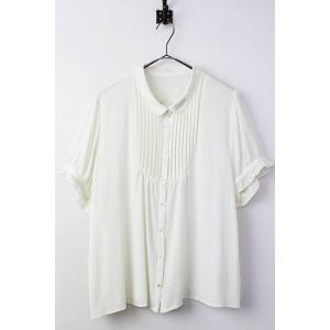 大きいサイズ PEYTON PLACE ペイトンプレイス フラワー 刺繍 半袖 シフォン ブラウス 15B/オフホワイト 2400010896866|tresorstore