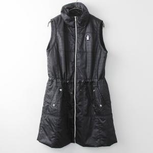 大きいサイズ Munsingwear マンシングウェア ワッペン付き 中綿入り ベスト ワンピース LL/ブラック ノースリーブ 2400011124739|tresorstore