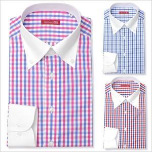 長袖ワイシャツ 日本製 ドレスシャツ Yシャツ メンズ 紳士用 ワイシャツ ボタンダウン クレリック ブルー 青 ピンク レッド 赤 [送料無料]|tresta