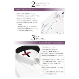 形態安定 ドレスシャツ 長袖ワイシャツ メンズ 紳士用 イージーケア スリム ワイドカラー ボタンダウン イタリアンカラー ダブルカフス 白 ホワイト ストライプ|tresta|04