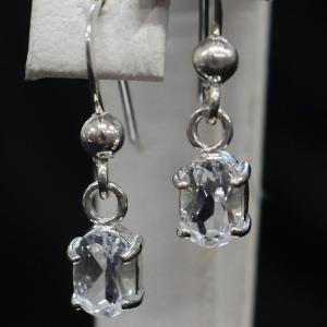ハーキマーダイヤモンド(ハーキマー水晶)オーバルSVフックピアス|triangle358