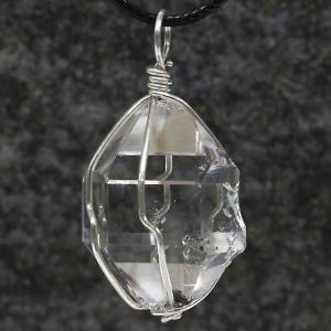ハーキマーダイヤモンド(ハーキマー水晶)ワイヤーラッピング原石ペンダント02|triangle358