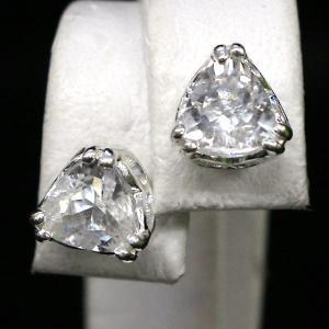 ハーキマーダイヤモンド(ハーキマー水晶)トライアングルSVキャッチ付ピアス|triangle358
