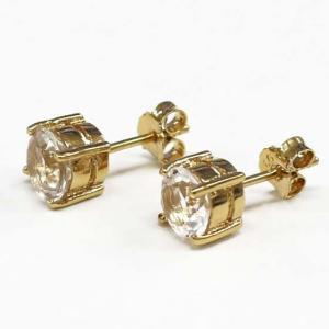ハーキマーダイヤモンド(ハーキマー水晶)ラウンド型シルバーピアス(ゴールド仕上げ)|triangle358