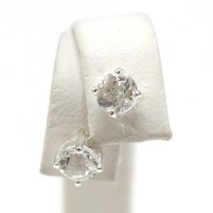 ハーキマーダイヤモンド(ハーキマー水晶)ラウンド型シルバーピアス(SV925)|triangle358
