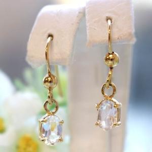 ハーキマーダイヤモンド(ハーキマー水晶)オーバル型フックピアス シルバー(ゴールド仕上げ)|triangle358