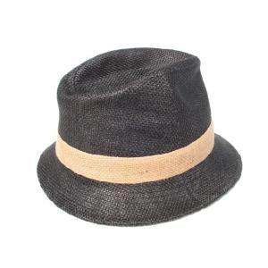 麻素材ハット/麦わら帽子/黒/ヘンプ|trickortreat