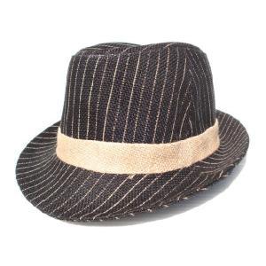 ストライプ麻素材ハット/麦わら帽子黒/ヘンプ|trickortreat