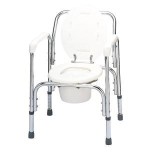テツコーポレーション アルミ製トイレチェア(介護用品 ポータブルトイレ トイレ用アーム 手すり 転倒防止 シルバー グッズ)|tricycle