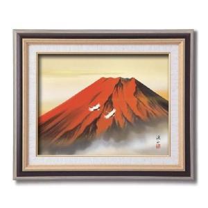 伊藤渓山 日本画額F6 黒 赤富士(日本画 額縁 絵画 壁掛け 風景 富士山 開運 金運)|tricycle