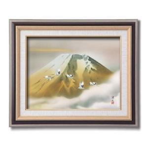 伊藤渓山 日本画額F6 黒 金富士(日本画 額縁 絵画 壁掛け 風景 富士山 開運 金運)|tricycle