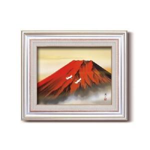 伊藤渓山 日本画額 F6AS 赤富士(日本画 額縁 絵画 壁掛け 風景 富士山 開運 金運)|tricycle