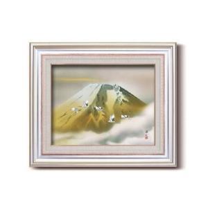 伊藤渓山 日本画額 F6AS 金富士(日本画 額縁 絵画 壁掛け 風景 富士山 開運 金運)|tricycle