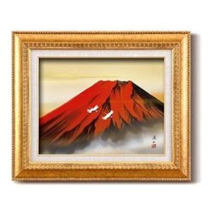 伊藤渓山 日本画額 F6金 赤富士(日本画 額縁 絵画 壁掛け 風景 富士山 開運 金運)|tricycle