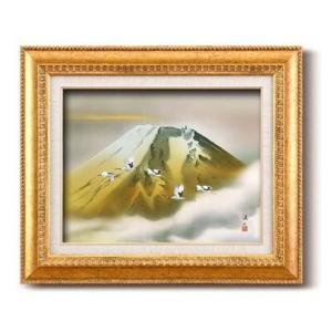伊藤渓山 日本画額 F6金 金富士(日本画 額縁 絵画 壁掛け 風景 富士山 開運 金運)|tricycle