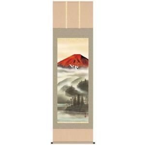 宇田川彩悠 尺五 「赤富士飛翔」(和室 床の間 掛け軸 夫婦鶴 吉祥慶賀 インテリア)|tricycle