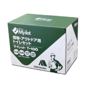 マイレット T-100 お徳用100回分(防災トイレ 凝固剤 簡易 可燃ゴミ処理 排便袋 セット 現場 アウトドア)|tricycle