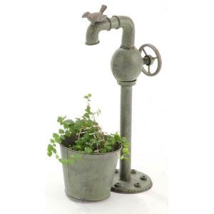 ガーデニンググッズ アンティーク風 バードポンプ プランター(園芸 用品 おしゃれ 雑貨 庭づくり 花壇 植木鉢)|tricycle