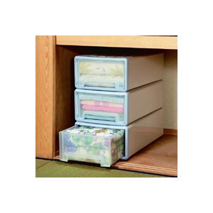 押入れ 収納 BOX ボックス ロング収納ケース 3個組 ブルー 23タイプ|tricycle