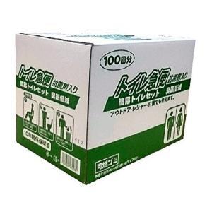 防災用品 簡易トイレセット トイレ急便 抗菌剤入り 100回分(防災トイレ 凝固剤 簡易 排便袋 セット 現場 アウトドア グッズ)|tricycle