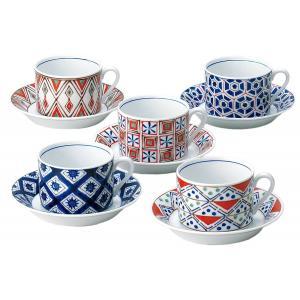 musbu 小紋 カップ&ソーサー 5客(コーヒー ティー おしゃれ 和 食器 陶器 磁器 ギフト 贈答品)|tricycle