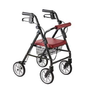 ハッピーミニプレミアム 室内室外兼用歩行車(歩行器 高齢者 タイヤ ブレーキ付き コンパクト シルバー カー 介護 用品)|tricycle