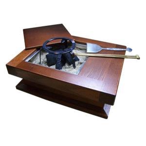 囲炉裏テーブル 5点セット(いろり 炉 火鉢 民芸家具 ちゃぶ台 灰ならし 和室 インテリア ギフト 贈答品 日本土産)|tricycle