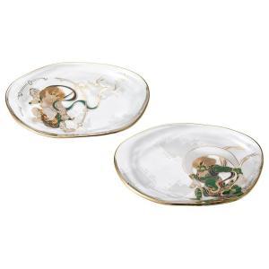 風神雷神 変形皿ペアセット(和菓子 小物置き トレイ 小皿 和食器 ギフト 木箱入)|tricycle