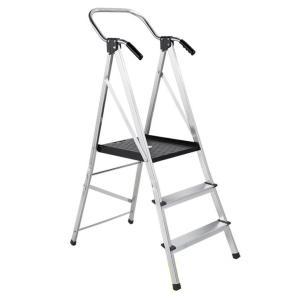 手すり付幅広安心作業台(脚立 アルミ 3段 軽い おしゃれ ミニバン 洗車 高さ ガーデニング はしご 折り畳み 工具)|tricycle